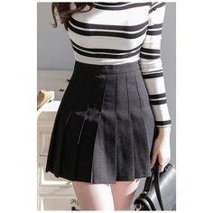 Peppy Style High Waist Plain Mini A-Line Pleated Skirt (£17) ❤ liked on Polyvore featuring skirts, mini skirts, high-waisted skirts, a line mini skirt, mini skirt, pleated skirt and high waist skirt