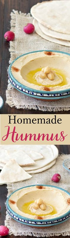 Homemade Lebanese hummus from scratch: super easy recipe tasty. Homemade Lebanese hummus from scratch: super easy recipe tasty healthy and requires just a few simple ingredients. Its perfect spread on sandwiches or as dip with some raw veggies. Lebanese Recipes, Turkish Recipes, Lebanese Cuisine, Salsa, Homemade Hummus, Middle Eastern Recipes, Arabic Food, Mediterranean Recipes, Guacamole