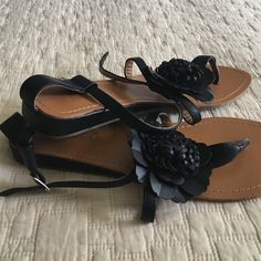 "Summer Sandals  made in Italy Black leather summer flats with 0.5"" wedge. Really good quality, made in Italy. Worn just couple of times. Bucco Capensis Shoes Sandals"