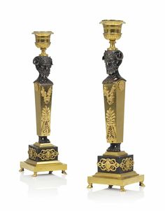 A PAIR OF RUSSIAN ORMOLU AND PATINATED-BRONZE CANDELSTICKS EARLY 19TH CENTURY Bed Furniture, Furniture Design, European Furniture, Neoclassical, Sofa Set, Candlesticks, Home Furnishings, 19th Century, Candle Holders