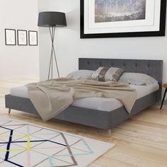 Kiváló minőségű fa ágy szövetkárpittal 200 x 160 cm sötétszürke