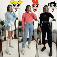 """""""Outfits that Powerpuff Girls would wear"""" Which ones is your favoYou can find Aesthetic clothes and more on our website. Princess Inspired Outfits, Anime Inspired Outfits, Disney Inspired Fashion, Character Inspired Outfits, Princess Outfits, Disney Fashion, Cute Group Halloween Costumes, Halloween Kostüm, Girl Costumes"""