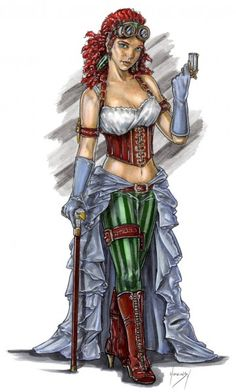 Steampunk Maiden drawn