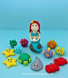 Mermaid / Under The Sea Cake Topper Set  by EdibleDesignsByLetty, $56.00