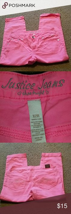 Justice size 12 pink jeans Justice size 12 pink jeans. Cuffed at the bottom. Justice Bottoms Jeans
