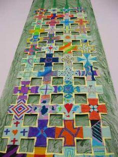 community created liturgical art, me likes alot Prayer Ministry, Youth Ministry, Prayer Stations, Altar Cloth, Cross Art, Church Banners, Church Design, Liturgical Seasons, Collaborative Art