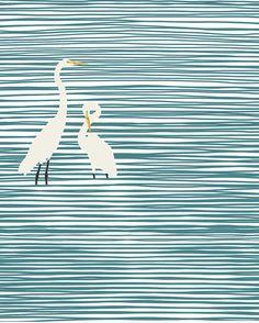 Fine Art Print.  Herons at the Beach.  November 6, 2014.