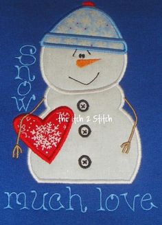 I2S Snowman Love Applique Design