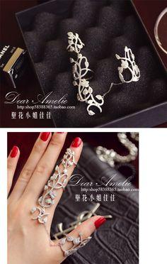 Крупный рогатый скот товаров эксклюзивным стерлингового серебра полые резные Европу и Америку через огонь Rihanna с двойной палец кусок полный алмазов цветок кольцо - Taobao