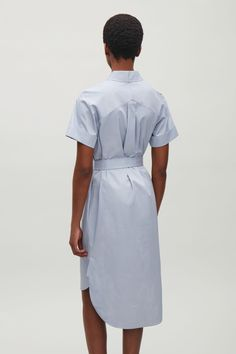 COS image 3 of Belted shirt dress in Dusty Blue