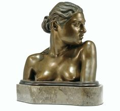 AN ITALIAN, NAPLES, 19TH CENTURY GILT BRONZE BUST OF A NEAPOLITAN MAIDEN, BY VINCENZO GEMITO, SIGNED; ON A MARBLE BASE.