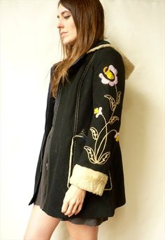 1970s Vintage Hippie Folk Wool Coat With Embroidered Sleeves