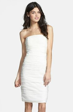 ML Monique Lhuillier Ruched Strapless Cationic Chiffon Dress (Nordstrom Exclusive) available at #Nordstrom