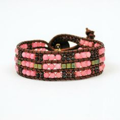 Brown and pink Coral Leather Cuff Bracelet Salmon by byolympia Leather Cuffs, Olympia, Salmon, Coral, Beaded Bracelets, Boho, Trending Outfits, Unique Jewelry, Handmade Gifts