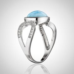 In Stock: LAURA BONETTI ´Volcano Allure´ - Larimar Ring with Cut-Out. Shop it ONLINE at www.larimar.com