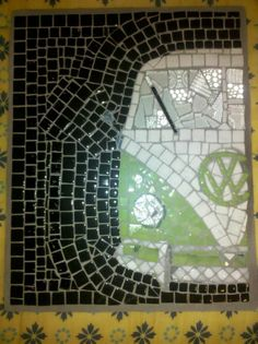 VW Bus, 12/12, Volkswagen, mosaic, art, tiles, vintage by Alli Ockinga