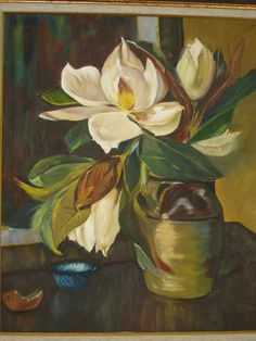 The Magnolias Oil Painting Measures : 70 cm * 80cm  - Streched Canvas -Framed. It has a quality framework. It is an oil painting. NOT A PRINT.