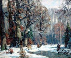 Stapleton Kearns: Some John Carlson paintings Painting Snow, Winter Painting, Winter Art, Impressionist Landscape, Landscape Art, Landscape Paintings, American Impressionism, Watercolor Trees, Paintings I Love