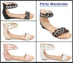#Womens #Sandals #Ladies #Flats #Girls #Studded #Pearls #Studs #Sexy #Sandal #Ankle #Strappy #GLOSSY #FLIRTYWARDROBE  #eBay