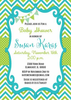 55 best baby shower invitations images on pinterest invitations chevron blue green baby shower invitation flags bunting modern filmwisefo