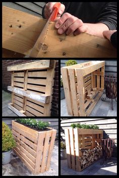 Shed DIY - My Shed Plans - Plantenbak/haardhout kast gemaakt van pallets - Now You Can Build ANY Shed In A Weekend Even If Youve Zero Woodworking Experience! Now You Can Build ANY Shed In A Weekend Even If You've Zero Woodworking Experience! Diy Pallet Projects, Woodworking Projects Diy, Woodworking Plans, Wood Projects, Youtube Woodworking, Woodworking Classes, Woodworking Videos, Pallet Furniture, Furniture Projects