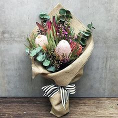 Rustic Native Bouquet (Melbourne Metro Region Only) How To Wrap Flowers, Rare Flowers, Fresh Flowers, Beautiful Flowers, Flower Bouquet Delivery, Flower Delivery Service, Gift Bouquet, Bouquet Wrap, Bouquet Flowers