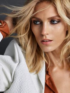 Anja Rubik gets her closeup with smokey eyeshadow for Vogue Portugal magazine June 2016 issue