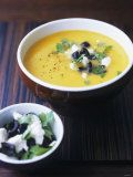 Yellow Pepper Cream Soup with Feta, Olives and Parsley