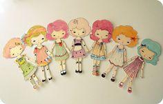 Colección de siete muñecos de papel de por Gingermelon en Etsy