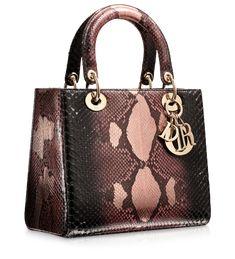 "DIOR Graded black and magnolia pink python ""Lady Dior"" bag"
