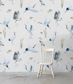 Hello! We are glad to present you our nature inspired wallpapers. Our whole collection is a combination of earthy colors, blooming flowers and tropical vibes. For more designs visit - https://www.etsy.com/shop/BloomsyWallpapers Pattern name: Crane Pattern repeat: 34 inches (86cm)