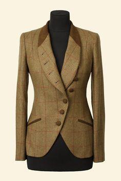 Green Herringbone Windowpane Borders Tweed Emma Jacket Walker Slater Tweed Specialists