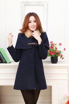 Korean Fashion Slim Cape Style Woolen Coat