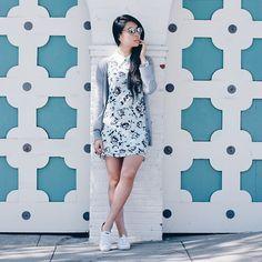 keds - Goodbadandfab Girl - Missguided Dress, Michael Stars Cardigan, Keds Sneakers, Chilli Beans Sunglasses - Mani on the Go