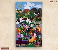 Wall hanging quilt 17 7 x19 7 arpillera art work for Orbe decoracion del hogar y arte textil