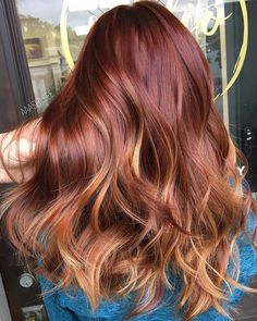 Copper Balayage, Copper Ombre, Hair Color 2018, Red Hair Color, Hair 2018, 2018 Color, Hair Color Highlights, Hair Color Balayage, Haircolor