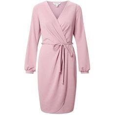 Miss Selfridge Split Sleeve Wrap Dress (4.340 RUB) ❤ liked on Polyvore featuring dresses, pink, pink mini dress, wrap dress, pink dress, holiday party dresses and pink wrap dress