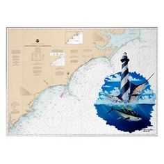 Steve Whitlock Nautical Chart Art  - Carolina Slam