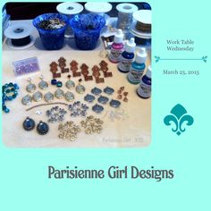 ...what's on my worktable this snowy Wednesday morning in Denver ♦  lots of B'sue goodies (www.bsueboutiques.com) ~ including the yummy vintage, French keys  www.parisiennegirl.com / www.facebook.com/ParisienneGirl  #WTW #ParisienneGirl #Bsue #BsueBoutiques #jewelry #keys
