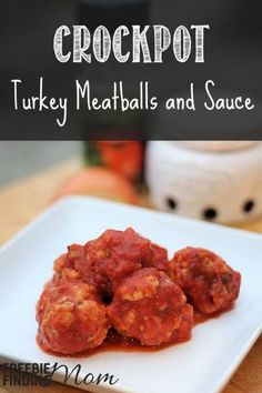 Crockpot Turkey Meatballs and Sauce - Cut out the calories but not the taste with this crockpot meatballs recipe. You won't miss the calories or fat, and you'll love the flavor of this easy crockpot recipe.  Serve over noodles or a healthier alternative, spaghetti squash, or opt for a low carb meal and enjoy by themselves.