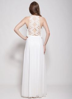 This amazing broken white bohemian wedding dress two parts delicate lace top and two layer skirt Perfect foe a beach wedding or garden wedding.effortless for a laid back wedding . ✦ Standard length of the dress is 143 cm from tip of shoulder to floor- if you want the dress longer just note ✦ Two layers of fabric : Top - chiffon and embroidery , Skirt upper layer is delicate mesh and lining - stretch rayon ✦ It takes me about 10 days to make a wedding dress according ones measurements so p...
