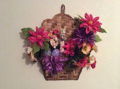 SALEITEM50, Easter flower wreath, Bunny Easter wreath, Floral Easter wreath with bunny & eggs, Easter door decoration, Easter egg decor