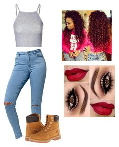"""""""❤️❤️❤️"""" by victoriamajors ❤ liked on Polyvore featuring Glamorous, Bullhead Denim Co. and Timberland"""