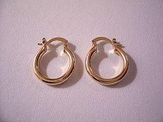 18k Gold Filled Plain Hoop Pierced Post by PrettyJewelryThings