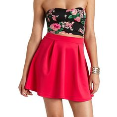 Charlotte Russe Pleated High-Waisted Skater Skirt ($8.99) ❤ liked on Polyvore featuring skirts, outfits, dresses, models, pink, high-waist skirt, knit skirt, pleated skater skirt, high-waisted skirts and pink circle skirt