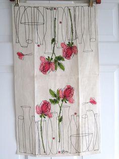 SOLD/RESERVED Vintage Vera Ladybug Towel Pink Roses Vases