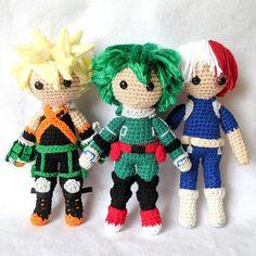 My Hero Academia Amigurumi Crochet Dolls MHA Bakugo Deku and Todoroki Crochet Game, Crochet Quilt, Crochet Doll Pattern, Crochet Patterns Amigurumi, Amigurumi Doll, Crochet Dolls, Modele Pixel Art, Deku Anime, Kawaii Crochet