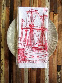 Eco Friendly Dinner Napkins - Screen Printed Organic Cotton Nautical Ship Cloth Napkins - Washable and Reusable - Ahoy Matey. $20.00, via Etsy.