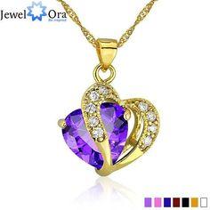 Multi-Color Heart Jewelry Gold Color CZ Pendant Necklace