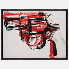 Guns '81-82 12x16  Added 12 months ago by willplantill via Andy Warhol Andy Warhol's experimental printmaking techniques, sharp social observations and unique blend of high art and commercialism are on brilliant display in his works from the '60s onward. The iconic objects he reproduced ranged in subject matter from cultural celebrities to darker and more violent symbols, like the gun depicted in this artwork from the early 1980s. The .32 snub-nosed pistol is similar to the one used by…